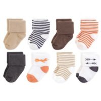 Touched by Nature Size 0-6M 8-Pack Fox Organic Terry Socks in Brown/Orange