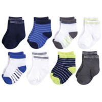 Hudson Baby® 0-6M 8-Pack Short Crew Socks in Blue