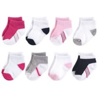 Hudson Baby Size 12-24M 8-Pack No Show Striped Socks in Pink