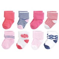 Touched by Nature Size 0-6M 8-Pack Organic Cotton Terry Socks in Pink