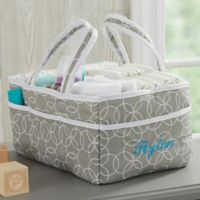Personalized Embroidered Gray Diaper Caddy