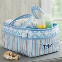 Personalized Embroidered Blue Diaper Caddy