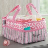 Personalized Embroidered Pink Diaper Caddy