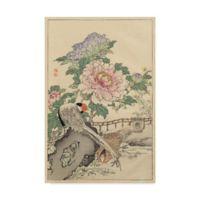 Trademark Fine Art Pheasant And Peony 12-Inch x 19-Inch Canvas Wall Art