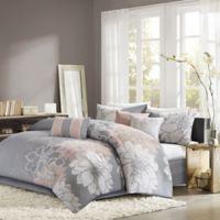 Madison Park Lola 7-Piece California King Comforter Set in Grey/Blush