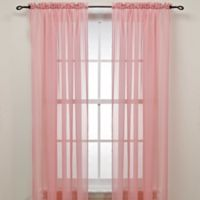 63-Inch Rod Pocket Sheer Window Curtain Panel in Pink