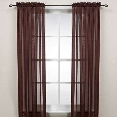 Cocoa 63 Inch Rod Pocket Sheer Window Curtain Panel
