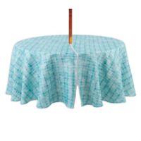 Destination Summer Indoor/Outdoor Essen 70-Inch Round Tablecloth with Umbrella Hole in Aqua