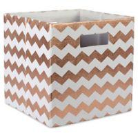 Design Imports Chevrons 11-Inch Storage Cube in Copper