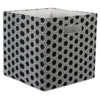 Design Imports Honeycomb 11-Inch Storage Cube in Black