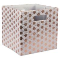Design Imports Honeycomb 11-Inch Storage Cube in Copper