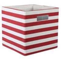 Design Imports Striped 11-Inch Storage Cube in Rust
