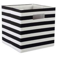 Design Imports Striped 11-Inch Storage Cube in Black