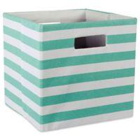 Design Imports Striped 11-Inch Storage Cube in Aqua