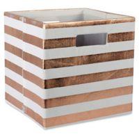 Design Imports Striped 11-Inch Storage Cube in Copper