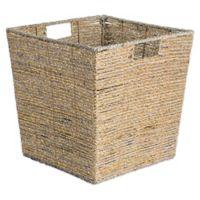 Design Imports Woven Seagrass 13-Inch Square Metallic Bin