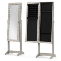 Standing Mirrored Jewelry Armoire in Grey