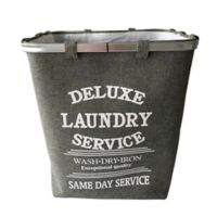 Baum-Essex Fabric Laundry Hamper with Stencil Print in Grey