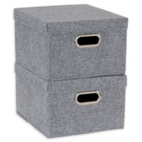 Household Essentials® Collapsible Storage Boxes with Lids in Grey (Set of 2)