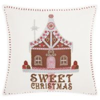 Kathy Ireland® Sweet Christmas House Square Throw Pillow in White