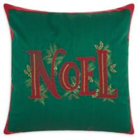 Kathy Ireland® Beaded Noel Christmas Square Throw Pillow in Green