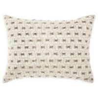 Mina Victory Beaded Buckles Oblong Throw Pillow in White