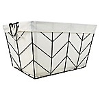 Honey-Can-Do® Chevrons Medium Wire Bin with Cotton Liner in Silver