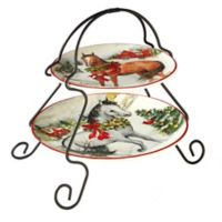 Certified International Christmas on the Farm Susan Winget 2-Tier Server