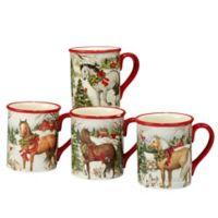 Certified International Christmas on the Farm Susan Winget Mugs (Set of 4)