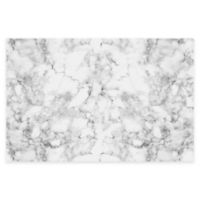 "FlorArt 36"" x 24"" Classic Marble Kitchen Mat in White"