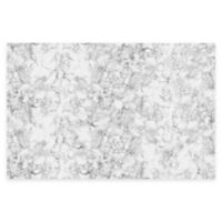 """FlorArt 72"""" x 48"""" Classic Marble Kitchen Mat in White"""