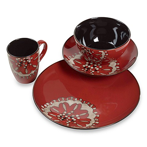 TTU Gallery 16-Piece Beads Reactive-Glaze Dinnerware Set - Hibiscus
