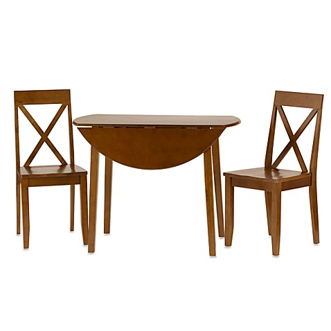 linon home 40inch round drop leaf dining set wcross back chairs - Linon Home Decor