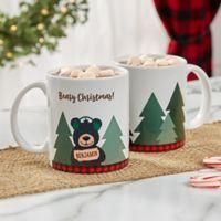Personalized Holiday Bear Family 11 oz. White Coffee Mug