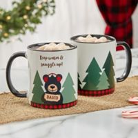 Personalized Holiday Bear Family 11 oz. Black Coffee Mug