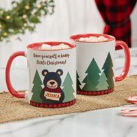 Personalized Holiday Bear Family 11 oz. Red Coffee Mug
