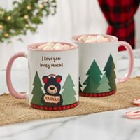 Personalized Holiday Bear Family 11 oz. Pink Coffee Mug