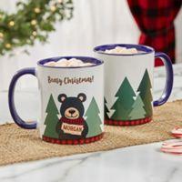 Personalized Holiday Bear Family 11 oz. Blue Coffee Mug