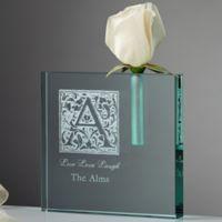 Floral Monogram Personalized Bud Vase