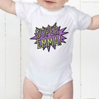 Super Hero Personalized Baby Bodysuit