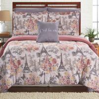 Pacific Coast Textiles Tuileries Reversible 8-Piece Queen Comforter Set in Grey