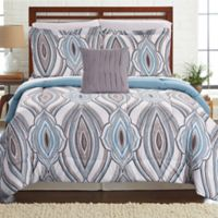 Pacific Coast Textiles Tribeca Reversible 6-Piece Twin Comforter Set in Aqua