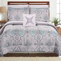 Pacific Coast Textiles Pigale Reversible 6-Piece Twin Comforter Set in Grey