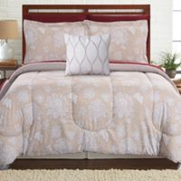 Pacific Coast Textiles Positano Reversible 6-Piece Twin Comforter Set in Tan