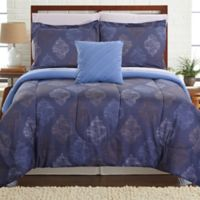 Pacific Coast Textiles Hugo Reversible 6-Piece Twin Comforter Set in Blue