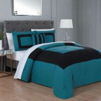 Carson 8-Piece King Comforter Set in Teal/Black