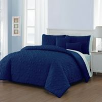Del Ray 9-Piece King Comforter Set in Navy/Light Blue