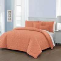 Del Ray 9-Piece King Comforter Set in Coral/White