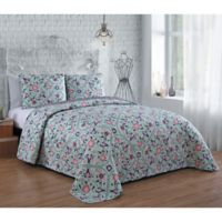 Evie Reversible King Quilt Set in Blue/Pink