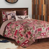 Happy Camper Reversible King Quilt Set in Brown